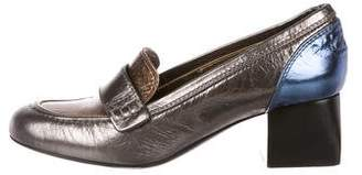 Lanvin Patent Leather Metallic Loafers