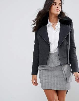 Helene Berman Wool Blend Biker Jacket With Faur Fur Collar