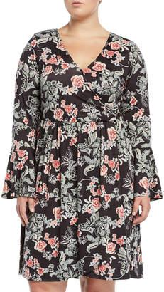 Bobeau Forrest Floral Bell-Sleeve Wrap Dress, Plus Size