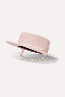 Maison Michel Kiki Faux Pearl-embellished Silk Satin-trimmed Rabbit-felt Hat - Pastel pink