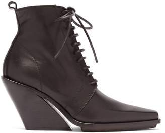 04151a3b55790 Ann Demeulemeester Slanted Heel Lace Up Leather Ankle Boots - Womens - Black