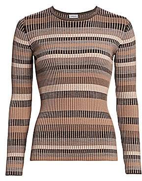 Akris Punto Women's Multi Striped Ribbed Wool Sweater