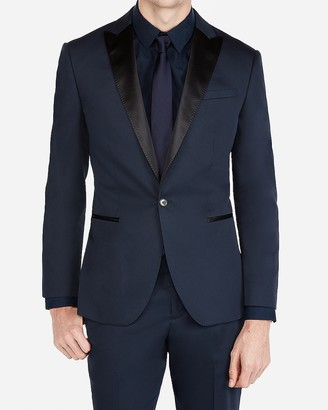 Express Classic Navy Cotton Sateen Tuxedo Jacket