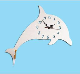 """Creative Motion Work with your hand to create a DIY Acrylic Dolphin Clock. It comes complete with clock, clock hands, Dolphin and an instruction. Product Size: Height 10"""" x Width: 7.5"""" xDepth: 0.7"""""""