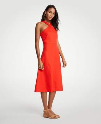 Ann Taylor Tall Cross Neck Halter Midi Dress