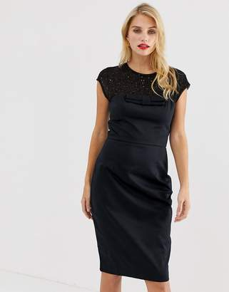 French Connection Hettie jewel embellished capped sleeve dress