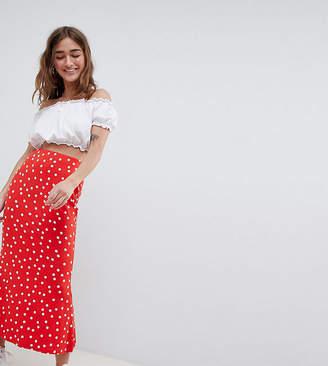 Asos DESIGN Petite midi skirt with kickflare in polka dot