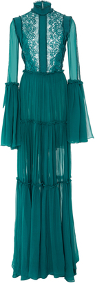 Costarellos Bell Sleeve Cordoned Lace and Chiffon Gown
