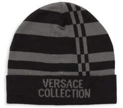 Versace Striped Logo Beanie