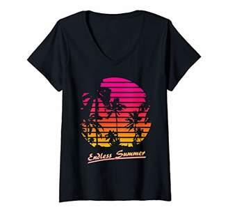 The Endless Summer Womens Cool 80s Palm Trees Summer Sunset V-Neck T-Shirt
