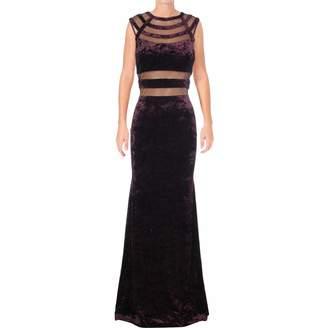 Betsy & Adam Womens Velvet Special Occasion Evening Dress Purple