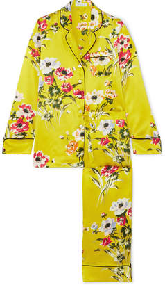 Olivia von Halle - Lila Floral-print Silk-satin Pajama Set - Marigold