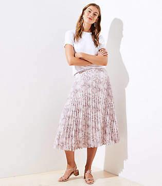 LOFT Snake Print Pleated Skirt