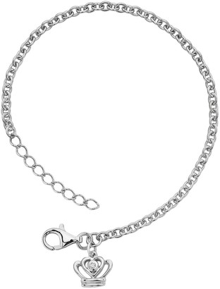 Little Diva Diamonds Sterling Silver Diamond Accent Crown Bracelet - Kids