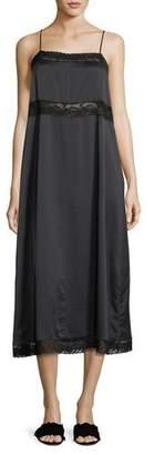 Robert Rodriguez Square-Neck Silk Slip Dress w/ Lace Trim