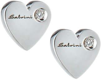 Salvini 18k White Gold Engraved Heart Stud Earrings