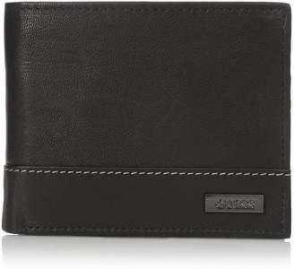 GUESS Men's Leather Passcase Wallet,Black