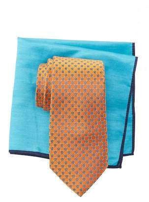 Ted Baker Connect Circle Neat Silk Tie & Pocket Square Set