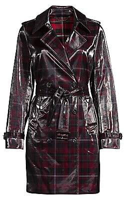 Elie Tahari Women's Natania Laminated Plaid Trench Coat