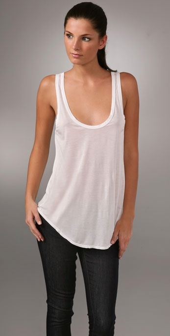 James Perse Deep Back Scoop Tunic Tank