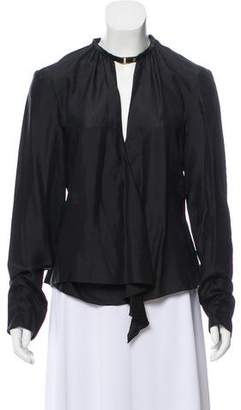 e4daa4b8 Pre-Owned at TheRealReal · Gucci Leather-Trimmed Silk Blouse