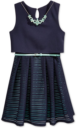 Beautees Belted Skater Dress with Necklace, Big Girls (7-16) $64 thestylecure.com
