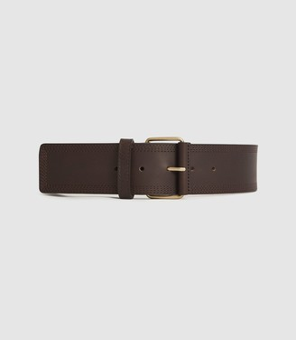 Reiss Lou - Leather Waist Belt in Chocolate