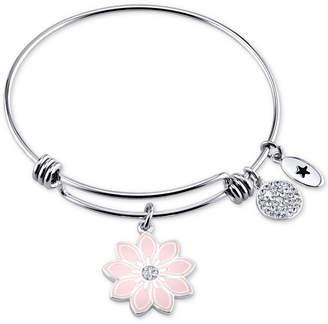 """Unwritten She is Like a Wildflower"""" Enamel Bangle Bracelet in Stainless Steel"""