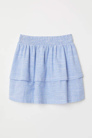 H&M - Striped Tiered Skirt - Blue