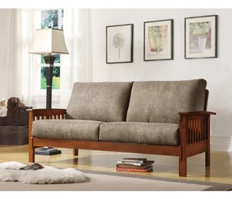 Weston Home Mission Oak Microfiber Sofa, Olive