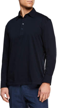 Ermenegildo Zegna Men's Long-Sleeve Cotton Polo Shirt