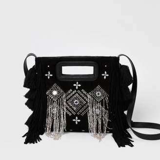 River Island Womens Black suede embellished cross body bag