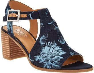 Franco Sarto T-Strap Sandals w/ Adjustable Ankle Strap - Heron