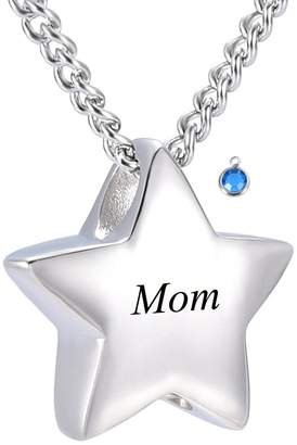 Keepsake DIYjewelry Inc Memorial Jewelry Mom Carved Star Birthstone Cremation Ashes Necklace Urn Pendant