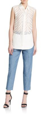 3.1 Phillip Lim Cropped Cotton Chambray Pants