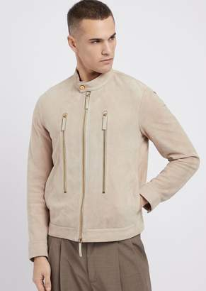 Emporio Armani Biker Jacket In Full Thickness Suede