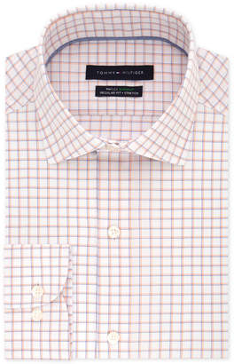 Tommy Hilfiger Men's Classic/Regular Fit Th Flex Stretch Performance Orange Check Dress Shirt