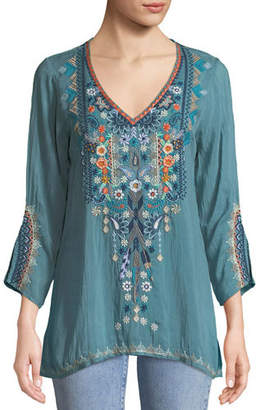 Johnny Was Maya V-Neck Embroidered Blouse, Plus Size