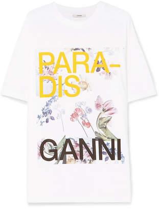 Ganni Oversized Printed Cotton-jersey T-shirt - White