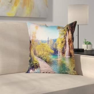 East Urban Home Idyllic Lake Waterfall Cushion Pillow Cover East Urban Home