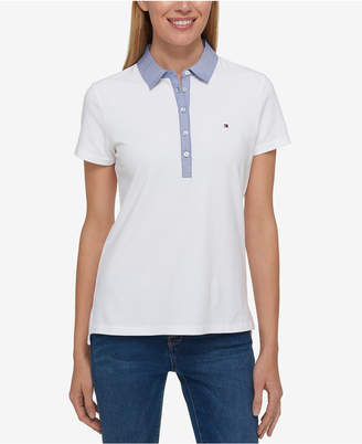 Tommy Hilfiger Chambray-Trim Polo Top, Created for Macy's $39.50 thestylecure.com