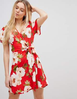 Girls On Film Wrap Dress in Large Floral Print