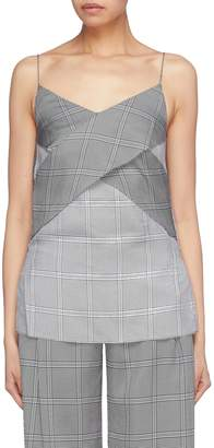 Dion Lee Cross front houndstooth check plaid camisole top