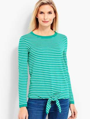 Talbots Tie-Front Sweater-Striped