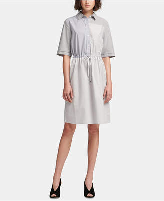 DKNY Cotton Short-Sleeve Striped & Colorblocked Dress