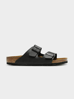 Birkenstock New Arizona Two Strap Sandal In Black Birko Flor Womens