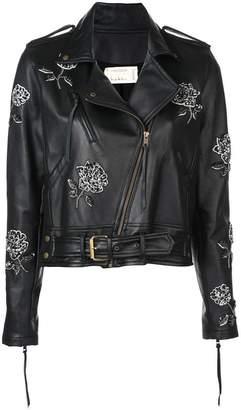 Nicole Miller floral embroidered biker jacket