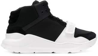 Burberry Suede and Neoprene High-top Sneakers