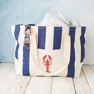 Cathy's Concepts CATHYS CONCEPTS Lobster Navy Striped Canvas Tote Bag