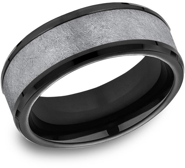 Benchmark Tantalum & Black Titanium 8mm Comfort-fit Swirl Finish Design Band